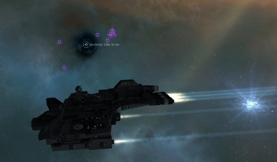 Circling the wormhole to C2a - the opposing team just scanned it down